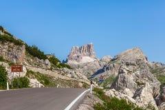 Mountain road - Dolomites, Italy. Road on the the pass Valparola - Italy Royalty Free Stock Photos