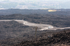 Mountain road on Etna volcano. Mount Etna landscape. Sicily, Ita Stock Photography