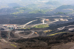 Mountain road on Etna volcano. Mount Etna landscape. Sicily Stock Photos
