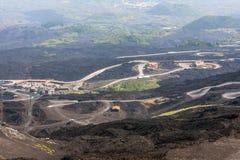 Mountain road on Etna volcano. Mount Etna landscape. Sicily Stock Photos