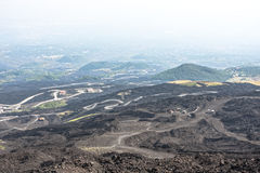 Mountain road on Etna volcano. Mount Etna landscape. Sicily Stock Photo