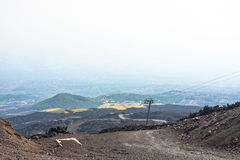 Mountain road on Etna volcano. Mount Etna landscape. Sicily Stock Photography