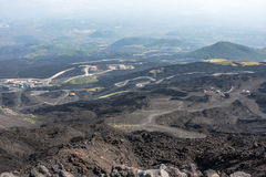 Mountain road on Etna volcano. Mount Etna landscape. Sicily Royalty Free Stock Photography