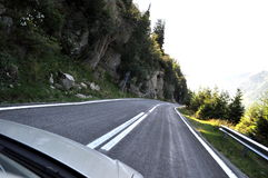 Mountain road. Fagaras mountains, alpine highway, mountain road curve to right Royalty Free Stock Images