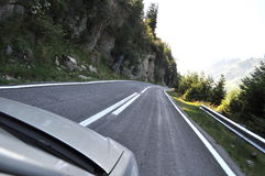 Mountain road. Fagaras mountains, alpine highway, mountain road curve to right Royalty Free Stock Photo