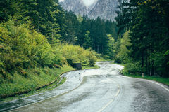 Mountain road in forest Stock Photography