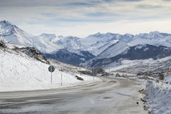 Mountain road in Formigal (Huesca, Spain) Royalty Free Stock Photo