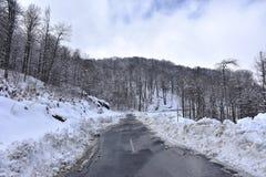 Mountain road. Full of snow Stock Photo
