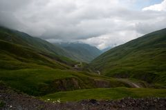 Mountain road in Georgia Stock Photo