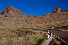 Mountain road on the Gran-Canaria. Asphalt road in the mountains Royalty Free Stock Photo