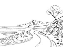 Mountain road graphic black white landscape sketch illustration Royalty Free Stock Photos