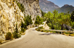 Mountain road in Greece Royalty Free Stock Images