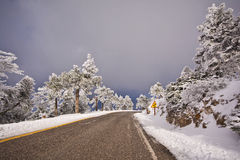 Mountain road in Greece. View of a road in snowy mountain in Greece Royalty Free Stock Photos