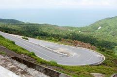 Mountain road on Hai Van pass in Hue Royalty Free Stock Photos