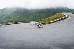 Mountain road on Hai Van pass in Hue Royalty Free Stock Photo