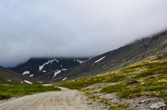 Mountain road in Hibiny. Foggy morning Stock Images