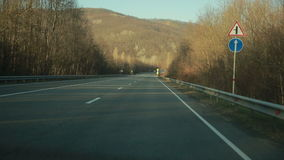 Mountain road at hight speed drive stock footage