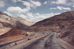 Mountain road in Himalaya. Kashmir curly road royalty free stock images
