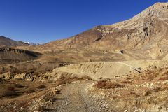 Mountain road in the Himalayas. Annapurna Conservation Area Nepal Stock Photo