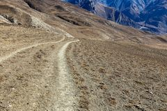Mountain road in the Himalayas. Annapurna Conservation Area Nepal Royalty Free Stock Photos