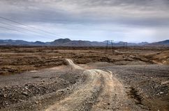 Mountain road in Iceland. Mountain road to Landmannalaugar in Iceland royalty free stock photography