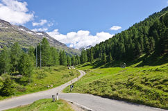 Mountain road. In the Italian Alps, 2000 m above sea level Stock Image