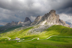 Mountain road in Italy Alps, Passo Giau Royalty Free Stock Photography