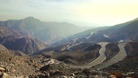 Jebel Jais road in UAE. Mountain road on Jebel Jais in Ras Al Khaimah, UAE stock footage