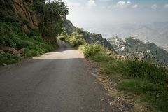 Mountain road in Jizan Provice, Saudi Arabia royalty free stock photos