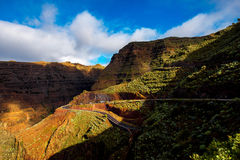 Mountain road on La Gomera island royalty free stock photo