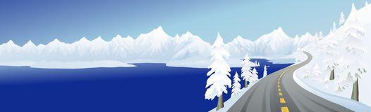 Mountain Road and Lake Royalty Free Stock Image