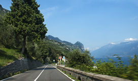 Mountain road by the lake Garda. Royalty Free Stock Image
