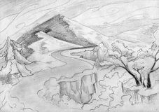 Mountain road landscape. Pencil drawn sketch of a landscape with two mountains, curling clouds, winding road and some trees Stock Photography