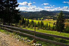 Mountain road and landscape at autumn sunny day, Radocelo mountain Royalty Free Stock Photography