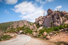 Mountain road, landscape of Corsica, France Stock Photos