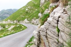 Mountain and road landscape of Montenegro Royalty Free Stock Photos
