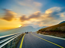 Mountain Road Landscape. Sunset Time Lapse on Transalpina Highway in Romanian Mountains Stock Photography
