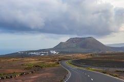 Mountain road through Lanzarote royalty free stock image