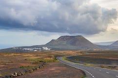 Mountain road through Lanzarote stock photo