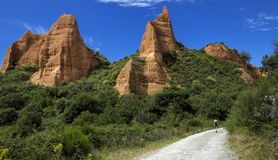 Mountain road in Las Medulas, ancient roman mines and natural park in Leon, Spain. stock photos