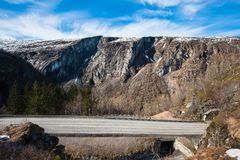Mountain road. A road leading to the national park of Norway Royalty Free Stock Photo
