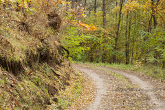 Mountain road. Left curve in the mountain dirt road Royalty Free Stock Image