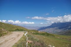 Mountain road at the level of clouds. It is situated at 2500 m above sea level. Royalty Free Stock Images
