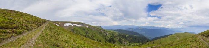 Mountain road. On Lotritei mountain near Voineasa city, Romania royalty free stock photo