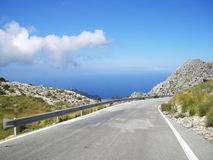 Mountain road on mallorca Royalty Free Stock Images
