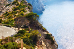 Mountain road in Mallorca, Spain Royalty Free Stock Images