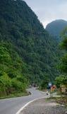 Mountain road with many green trees in Dalat, Vietnam.  Royalty Free Stock Photo