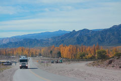 Mountain road from Mendoza to Santiago with autumn Royalty Free Stock Image