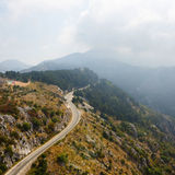 The mountain road in Montenegro. Top view Stock Photos