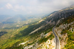 The mountain road in Montenegro. Top view Royalty Free Stock Image